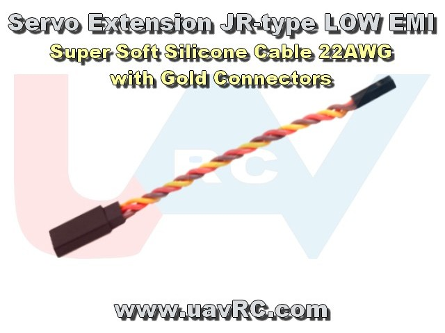 Extension servo cable 25cm - gold plug - silicone wire -twisted