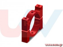 Tube Clamp 22mm Metal -Red