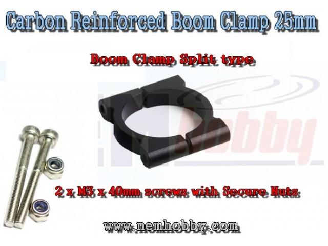 Tube Clamp 25mm Plastic set w/Screws & Nuts -Black