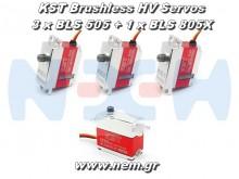 KST BLS-505 x 3 + BLS 805X x 1 HV Digital Brushless Servo combo
