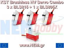 KST BLS-815 x 3 + BLS 805X x 1 HV Digital Brushless Servo combo