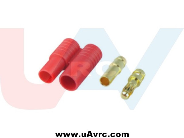 Connector 3.5mm Gold Plated with Housing -Red