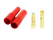Connector 4mm Gold Plated with Housing -Red