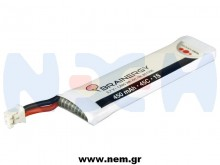 Brainergy 3.7V 450mAh 45C 1S1P Lipo Battery Pack