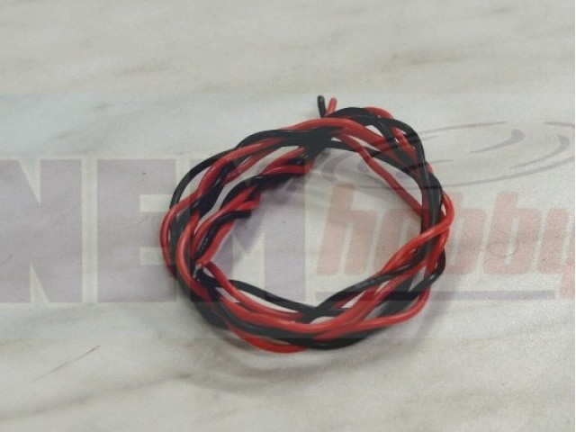 Silicone cables 22AWG 2poles Twisted x0.8mtr, w/JST-XH Plug -Black/Red