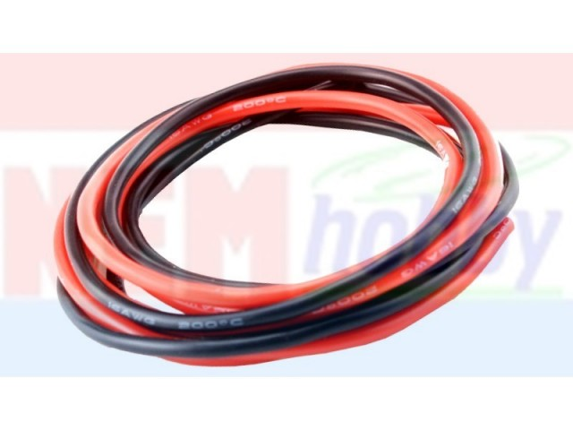 Silicone cables 12AWG x2mtr. -1Black+1Red